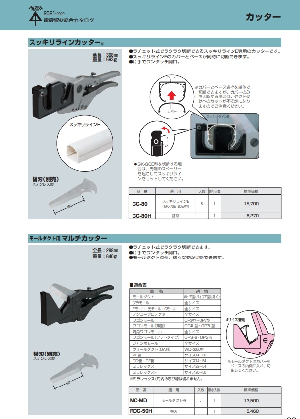 未来工業 スッキリラインカッター モールダクト用マルチカッター/電設工具 配管工具 空調工具 専門店