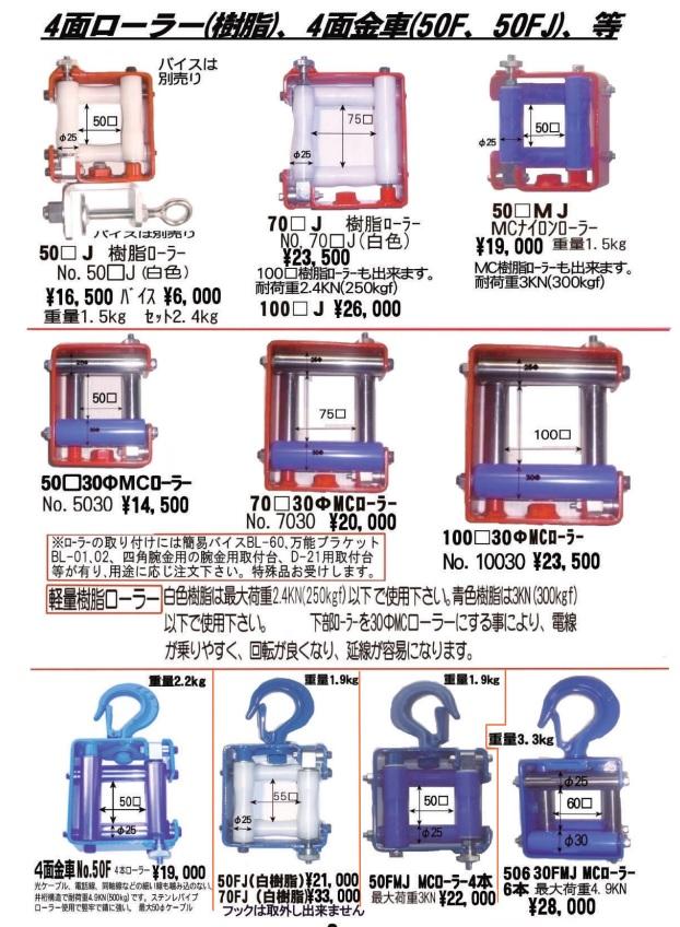ダイワ製作所 4面ローラー(樹脂) 4面金車(50F 50FJ)/電設工具 配管工具 空調工具 専門店